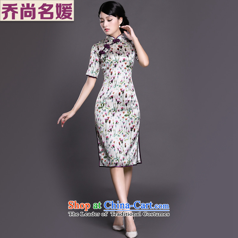Joe was aristocratic heavyweight Silk Cheongsam long daily in the Republic of Korea women's wind improved ZS022 White聽XXL