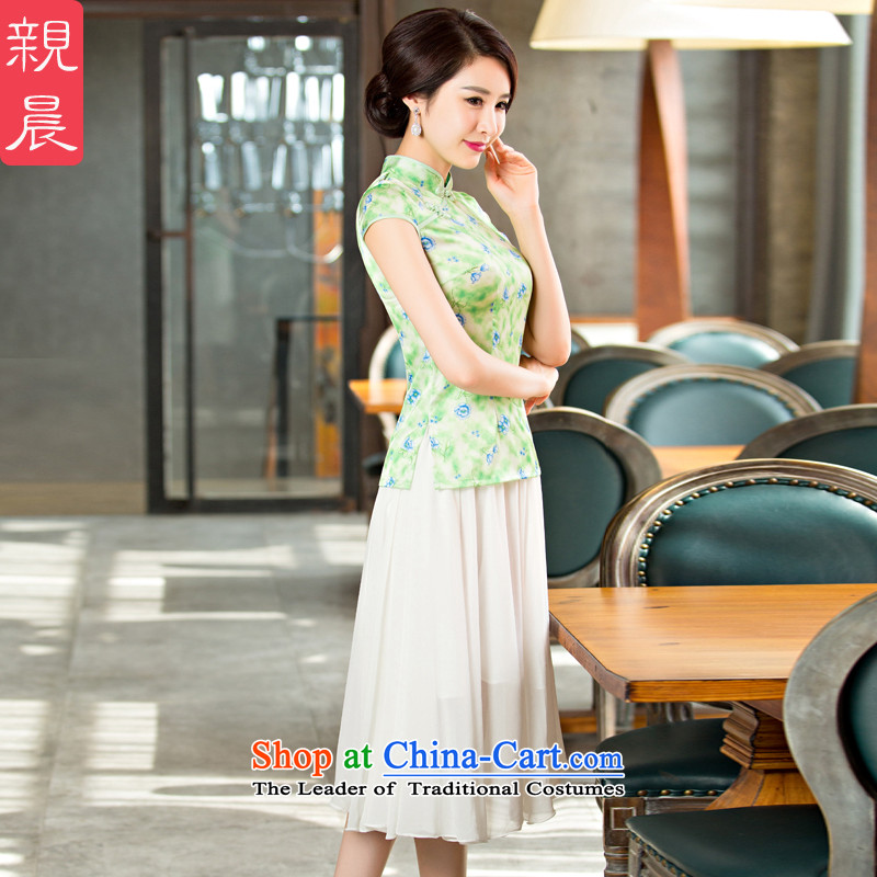 The pro-am daily new improvements by 2015 stylish short-sleeved summer cheongsam dress shirt�FMS-236+ girls qipao skirt m White Snow woven skirts�XL