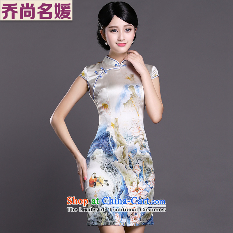 Joe was aristocratic summer new short-sleeved improved qipao skirt silk ethnic ZS024 white聽S
