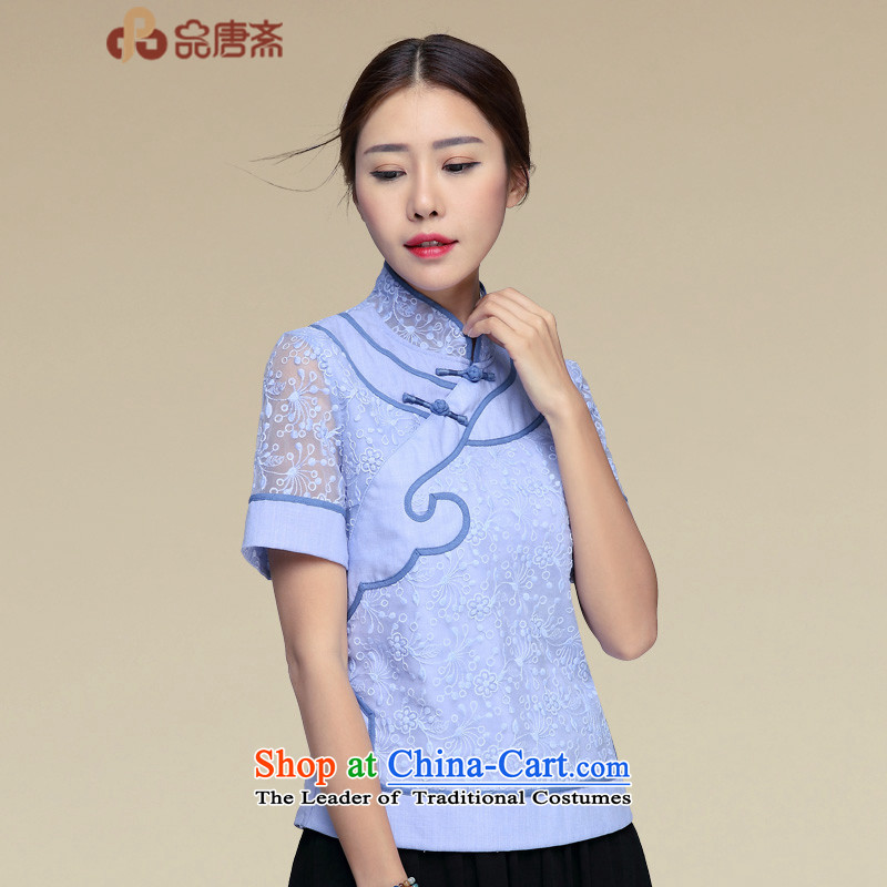 No. of Ramadan 2015 Summer Tang New China wind Han-improved qipao short-sleeved T-shirt blue燲L