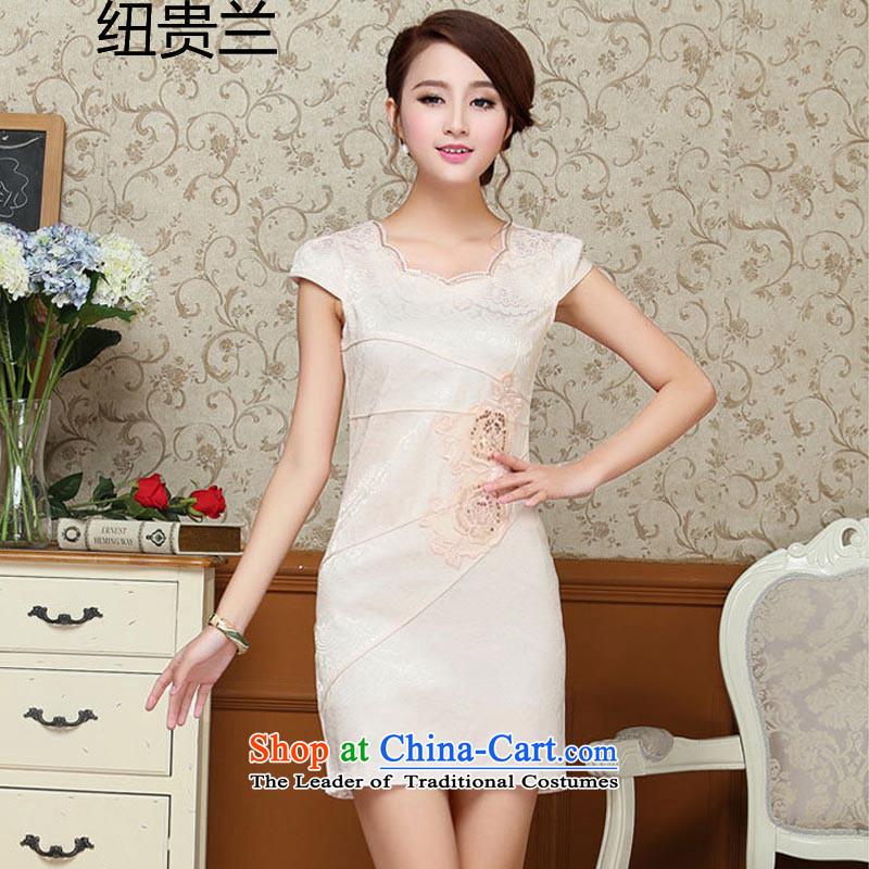 The estimated 2015 Summer nz female new Korean Sau San temperament cheongsam dress?JAYT61?light yellow?XXL