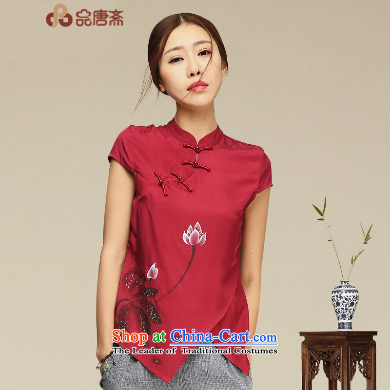 No. 2015, Tang Dynasty Ramadan Tang summer improved Han-China wind women short-sleeved T-shirt qipao retro RED�M