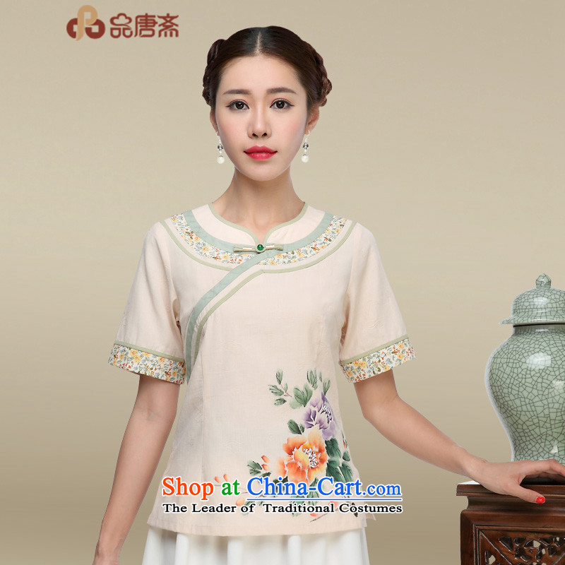 Tang Tang Dynasty Ramadan, Han-ethnic women short-sleeved T-shirt qipao cotton linen improved Chinese tea service apricot燲L
