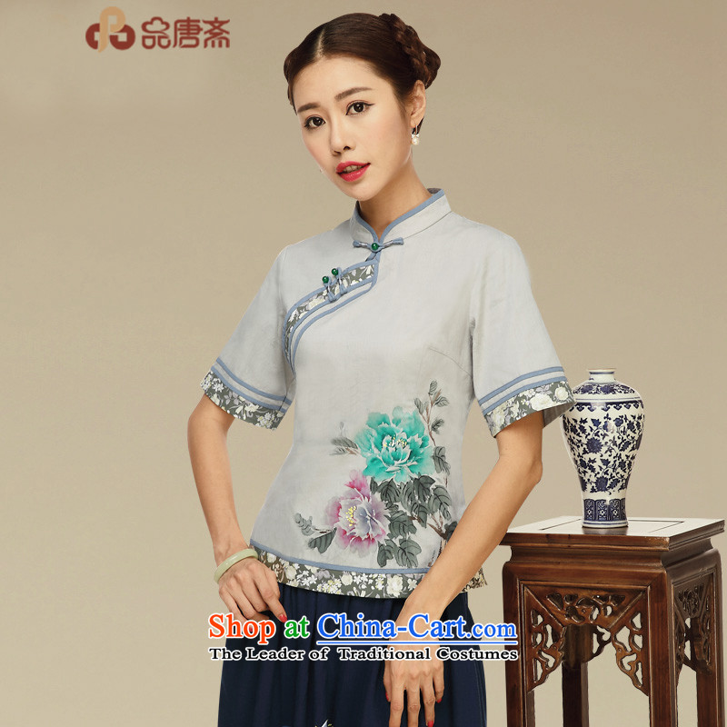 Tang Tang Dynasty Ramadan No. female summer retro China wind tea services improved Han-short-sleeved T-shirt color pictures qipao?L