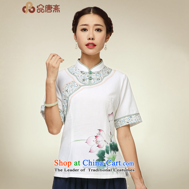 No. of Ramadan 2015 Tang cotton linen dresses shirt China wind cotton linen, Ms. Tang dynasty tea services map color?XL