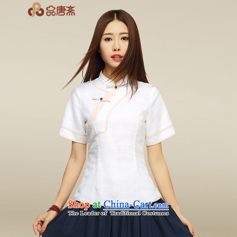 No. of Ramadan 2015 Summer Tang Han-China wind improved Tang dynasty, cotton linen white shirt qipao?S