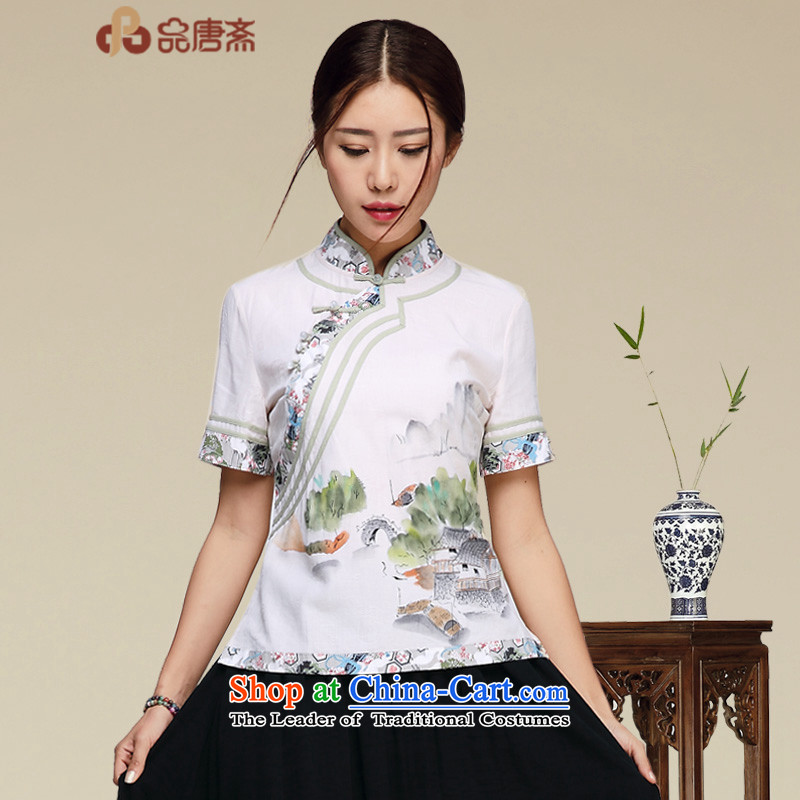 No. Tang Ramadan 2015 cotton linen clothes female summer new Tang dynasty China wind cotton linen retro women improved Han-T-shirt color pictures qipao L