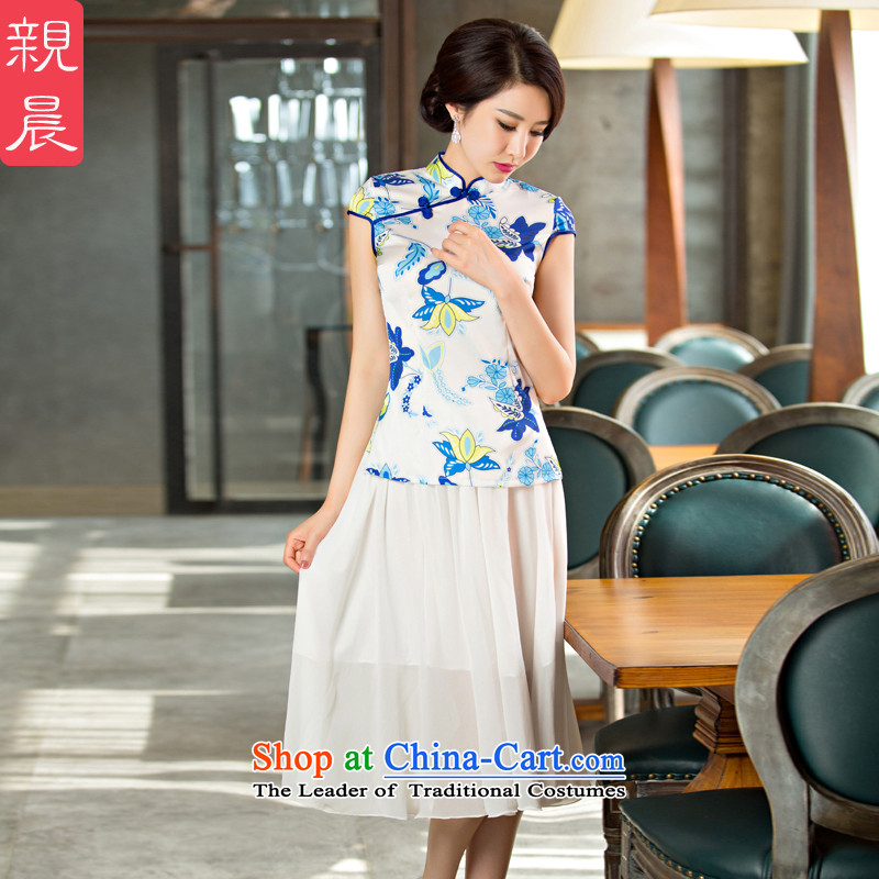 The new 2015 pro-morning daily fashion girl, improved short qipao short-sleeved T-shirt燜MS-235 summer Dress Shirt + upper body chiffon skirt燤