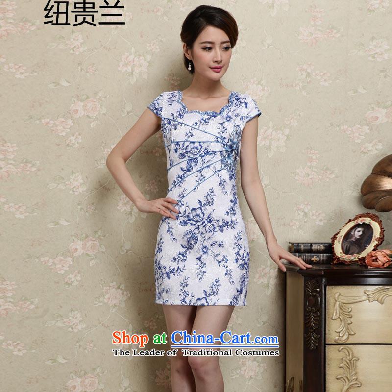 The estimated 2015 Summer nz female new Sau San cheongsam dress?JAYT28?BLUE?L