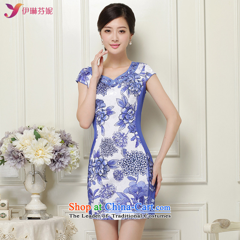 In accordance with the American female's package and retro qipao Sau San cheongsam dress short of qipao female?LYE66616?BLUE?XXL