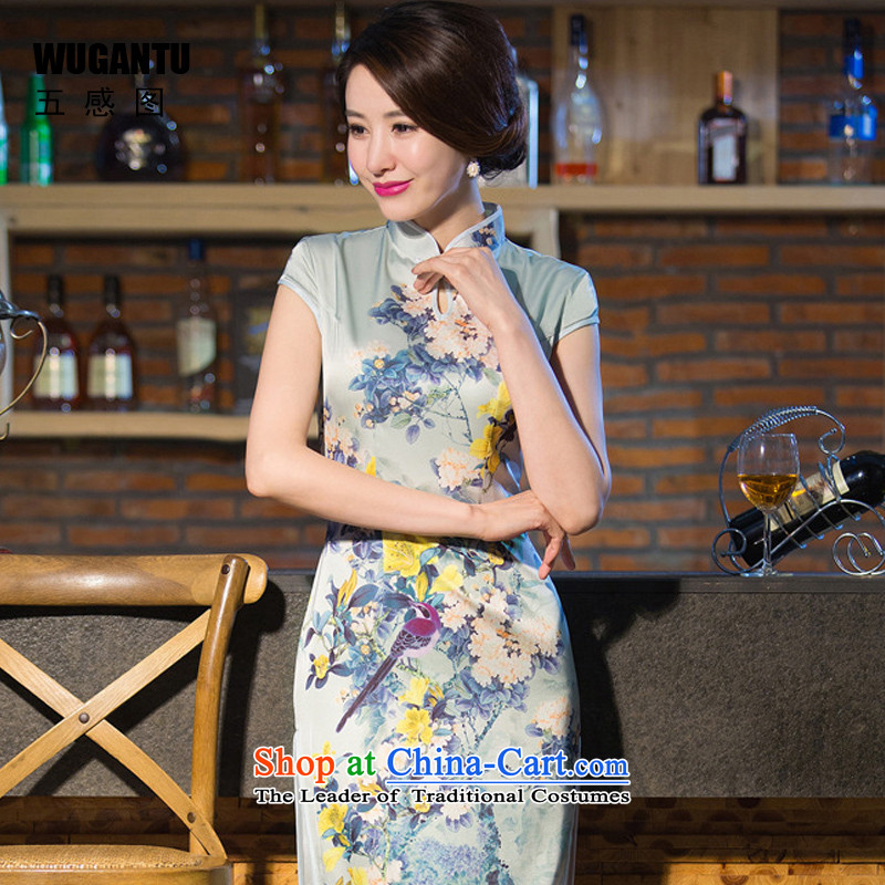 The five senses figure upscale Silk Cheongsam 2015 summer long new daily improved Sau San sexy temperament China wind WGT239 picture color M