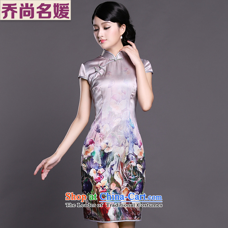 Joe was aristocratic upscale heavyweight silk cheongsam dress summer China wind ZS026 female Suit聽M
