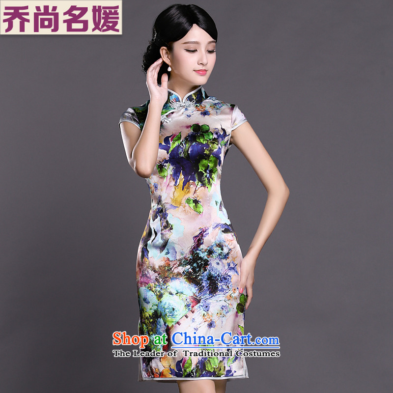 Joe was aristocratic summer new short-sleeved improved qipao gown silk ZS027 SUIT聽L