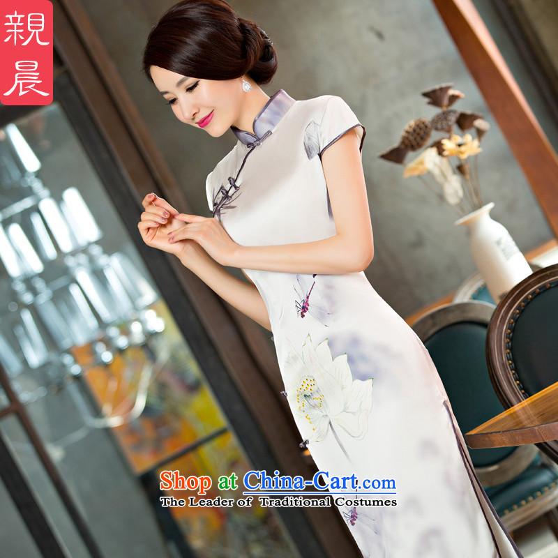 The new 2015 pro-morning long white lotus daily improved retro cheongsam dress female summer short-sleeved dresses long?S