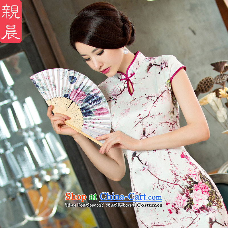 The pro-am daily new improvements by 2015 cheongsam dress, summer Stylish retro long short-sleeved cheongsam dress long�S