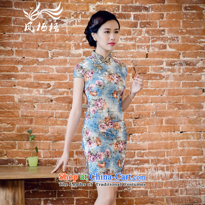 Bong-migratory 7475 2015 new summer, scouring pads to a high standard and style qipao really temperament velvet cheongsam dress DQ15123 blue flowers燣