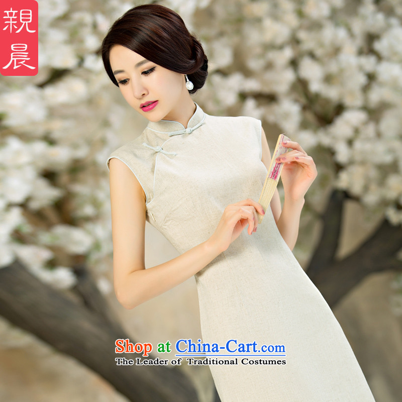 The pro-am daily new improvements by 2015 cotton linen cheongsam dress stylish summer short of Ms. retro cheongsam dress short_燣--10 day shipping
