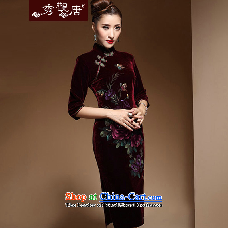 Sau Kwun Tong animation Butterfly Spring Ms. upscale scouring pads in the retro cuff qipao long skirt qipao 2015 new moms_ cuff purple燬