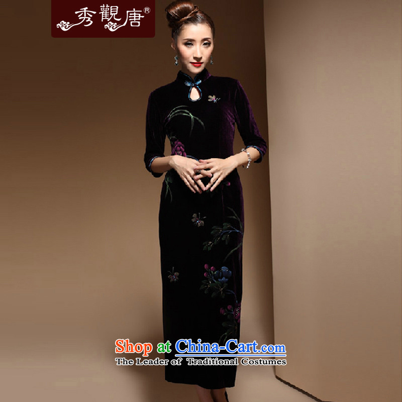 Sau Kwun Tong South Wing upscale velvet cheongsam retro long spring 2015 improved fashion, cuff cheongsam dress purple聽XXXL
