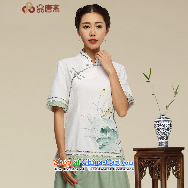 No. of Ramadan 2015 Summer Tang new cotton linen clothes Tang dynasty improvements qipao daily tea services retreat serving picture color燣