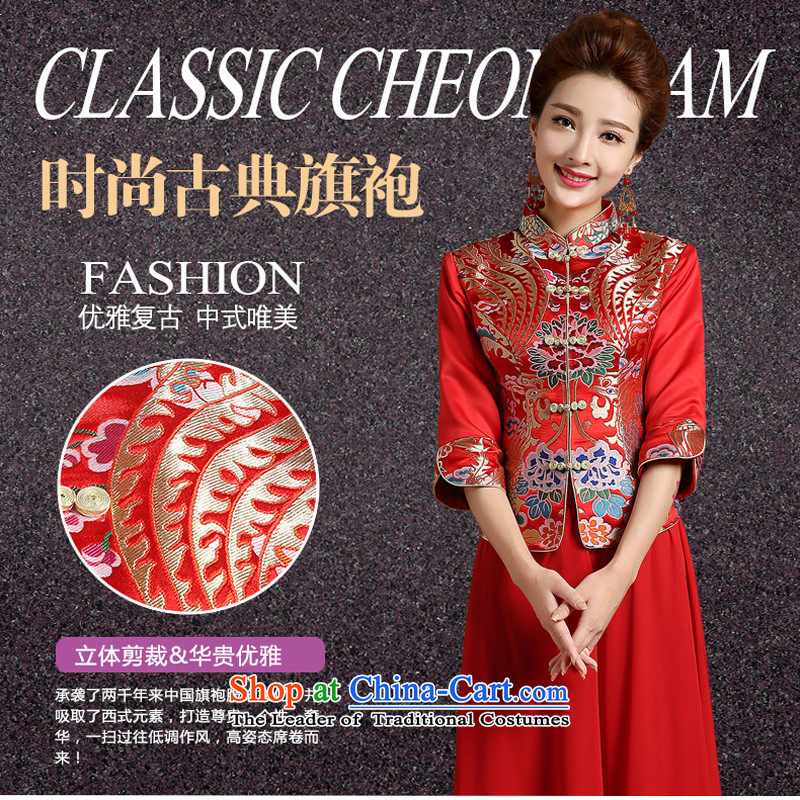Pure Love bamboo yarn new wedding dresses qipao Chinese robe embroidered red bride use cheongsam dress qipao toasting champagne kit spring thick 2 piece bride flag red S plain love bamboo yarn , , , shopping on the Internet