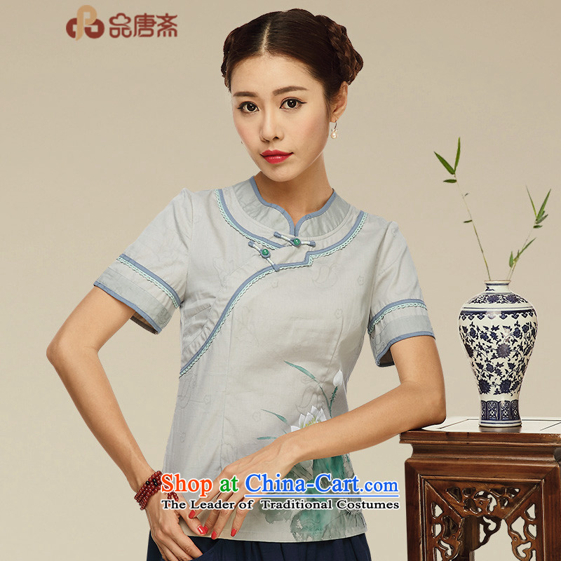 No. of Ramadan 2015 Summer nation Tang short-sleeved T-shirt qipao wind improved Han-China wind-day Chinese cotton linen tea service picture color?S