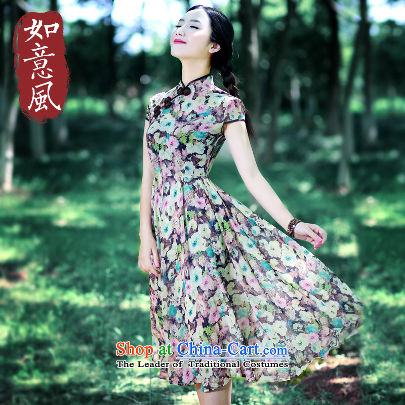After the wind of ethnic retro stamp chiffon dresses summer China culture of quality female qipao 5400 5400 short-sleeved燤