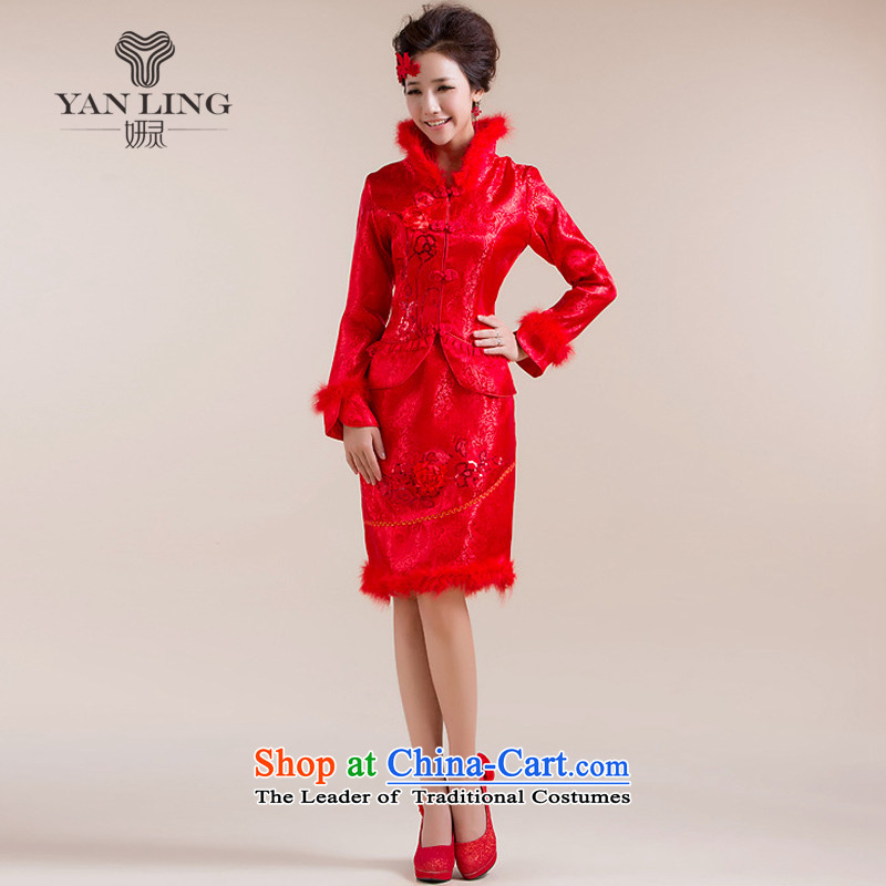 Charlene Choi Ling 2015 new winter cheongsam new marriage bows qipao winter cotton qipao feather gross for燲L