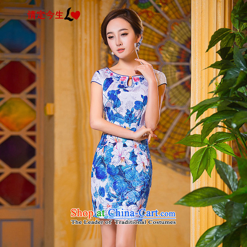 Love of the overcharged Mock-neck retro 2015 Summer new round-neck collar agate Shek Sau San graphics package and blue qipao thin tailor-made exclusively concept Message Size