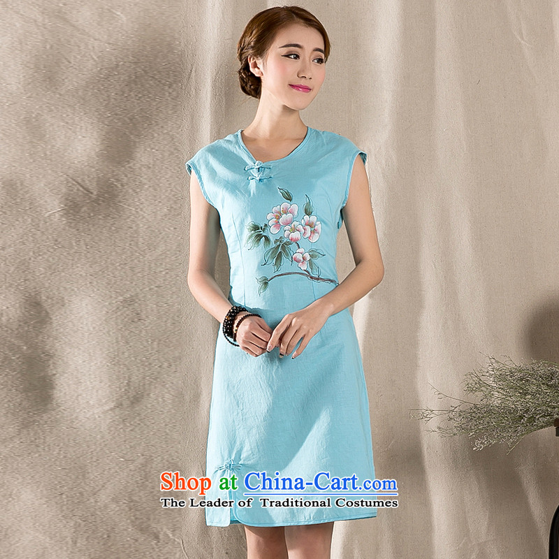 Yi Yi Lian Lian 2015 Summer new arts retro cotton linen dress hand painted cotton linen Sau San improved cheongsam dress skyblue L