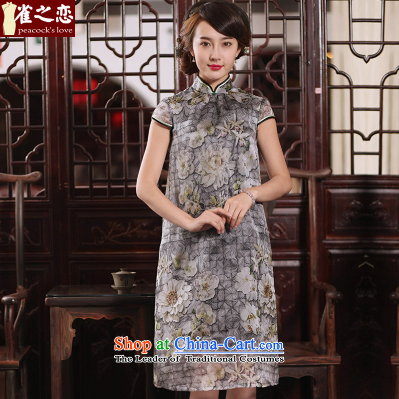 Love of birds since Tim incense dull?2015 New Silk Cheongsam dress sauna silk dresses? QD765 liberal?figure?L