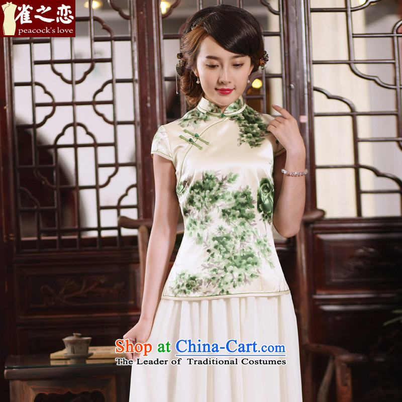 Love of birds migratory sent the NEW Summer 2015 Han-heavyweight Silk Cheongsam blouse Tang dynasty retro?QD767 female?figure?M