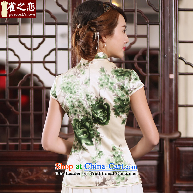 Love of birds migratory sent the NEW Summer 2015 Han-heavyweight Silk Cheongsam blouse Tang dynasty retro QD767 female figure M love birds , , , shopping on the Internet