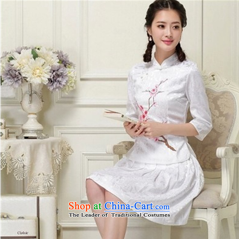 In cuff kit shirt qipao short skirt two kits of nostalgia for the improvement of students of the Tang Dynasty outfits girls qipao white sleeves installed in a Phillips燤_small one code