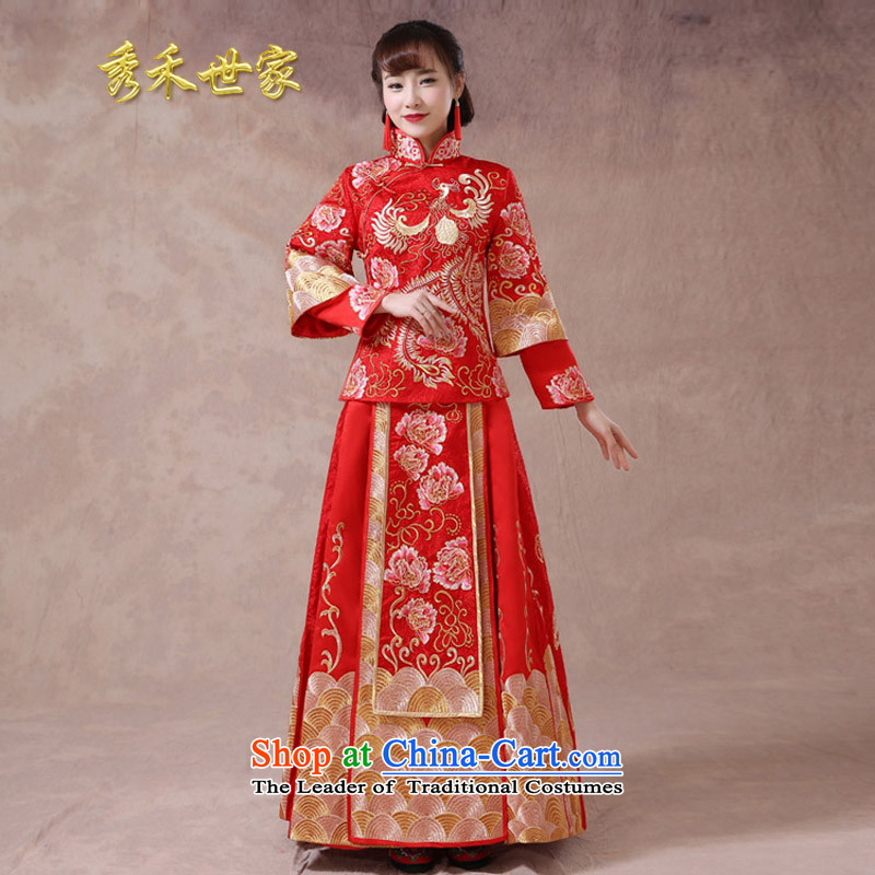 Sau Wo Saga Soo Wo Service bridal dresses toasting champagne summer Chinese dragon costume use hi-service long-sleeved qipao Wedding dress-soo and large red聽L