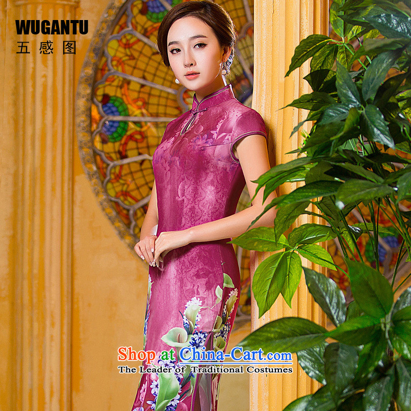 The five senses Figure Sau San sexy republic of korea long cheongsam dress 2015 Summer new women's China wind the flag?color photo of wind dress WGT001?XL