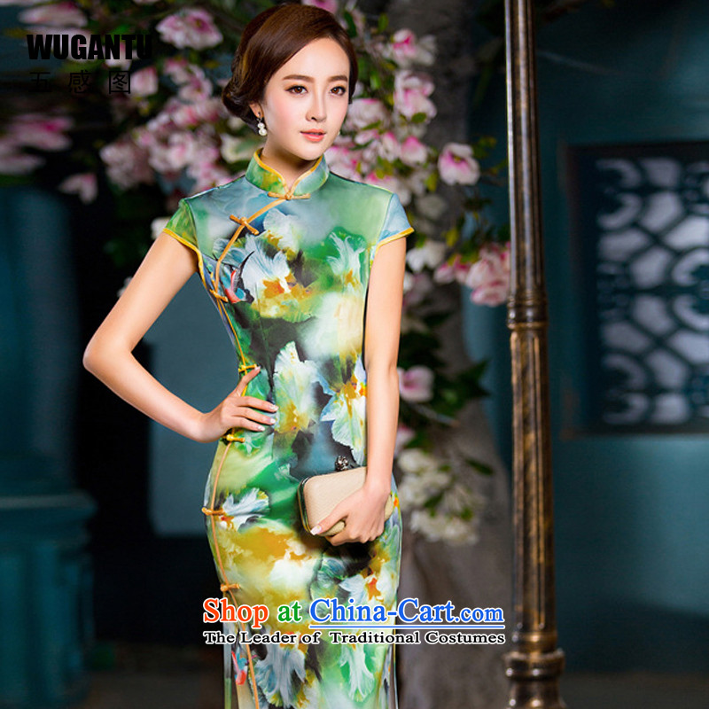 The five senses figure for爏ummer 2015 new women's sexual feelings are decorated idyllic long cheongsam dress China wind ethnic Republic of Korea dress燱GT221爌icture color燲XL