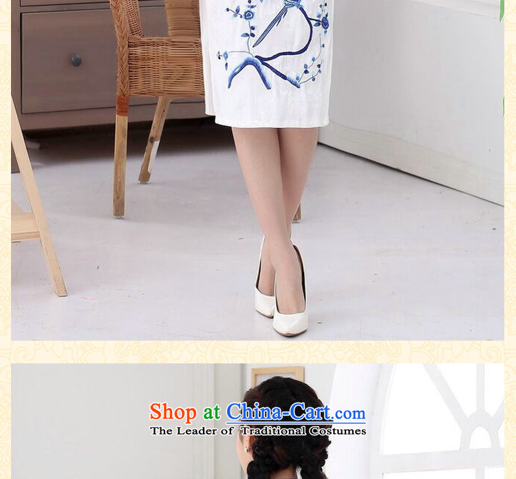Dan smoke summer Ms. new cheongsam cotton embroidery improved Chinese collar short-sleeved long of daily Sau San qipao figure color聽M brand, prices, picture platters! The elections are supplied in the national character of distribution, so action, buy now enjoy more preferential! As soon as possible.