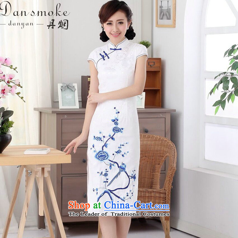 Dan smoke summer Ms. new cheongsam cotton embroidery improved Chinese collar short-sleeved long of daily Sau San qipao figure color?M