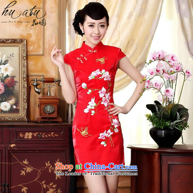 Figure for summer flowers Ms. New Chinese qipao gown ramp improved collar embroidered short the lift mast temperament bows cheongsam dress figure color燤