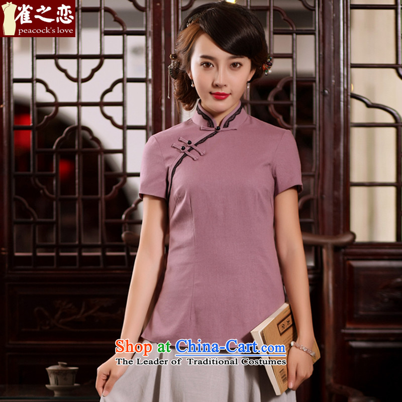 Love of birds light summer poured 2015 new stylish Tang Dynasty Chinese qipao improved short-sleeved T-shirt  QD780 cotton linen dresses elegant purple  XL