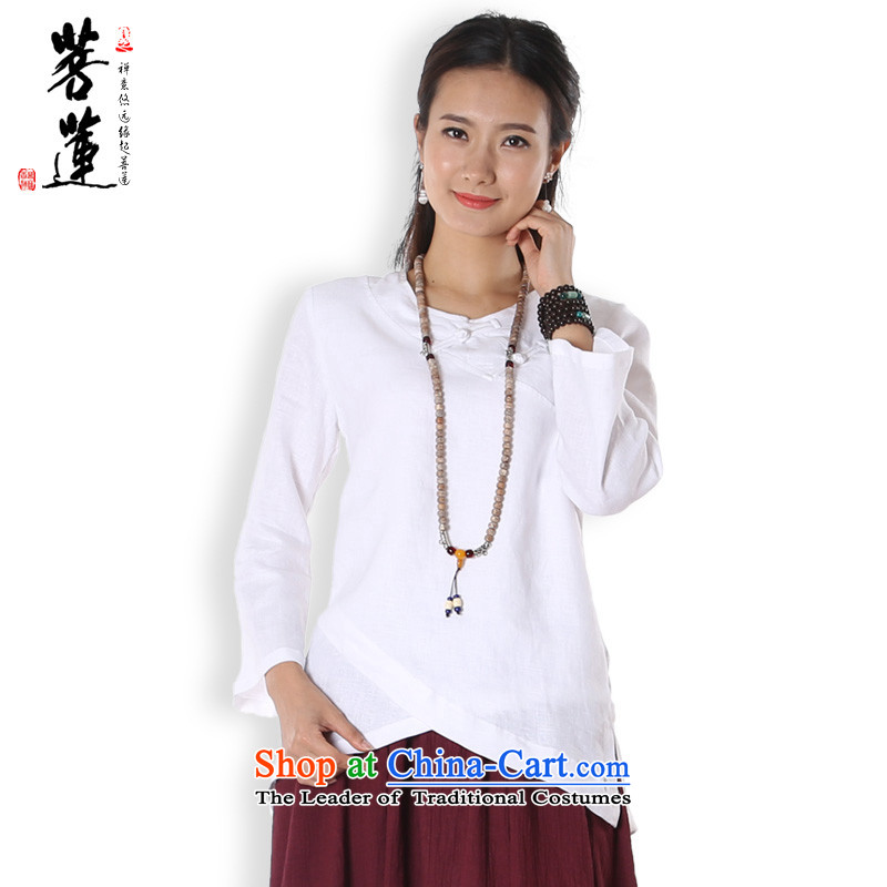 On Lin Yi cotton linen retreat women fall flax I should be grateful if you would have a ball-painted Zen Services China wind yoga services white�L T-Shirt