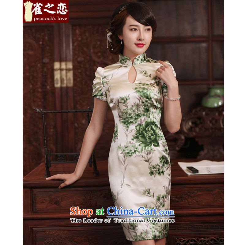 Love of birds words Cheong Wa Fong�new cheongsam dress 2015 improved stylish summer short-sleeved daily silk cheongsam dress�QD772�figure�S