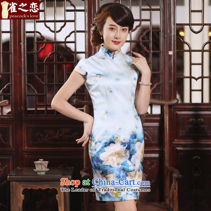 Love of birds on the 2015 new short-sleeved qipao summer improved short of daily silk cheongsam dress  QD761 flowers PINELLIA XXL