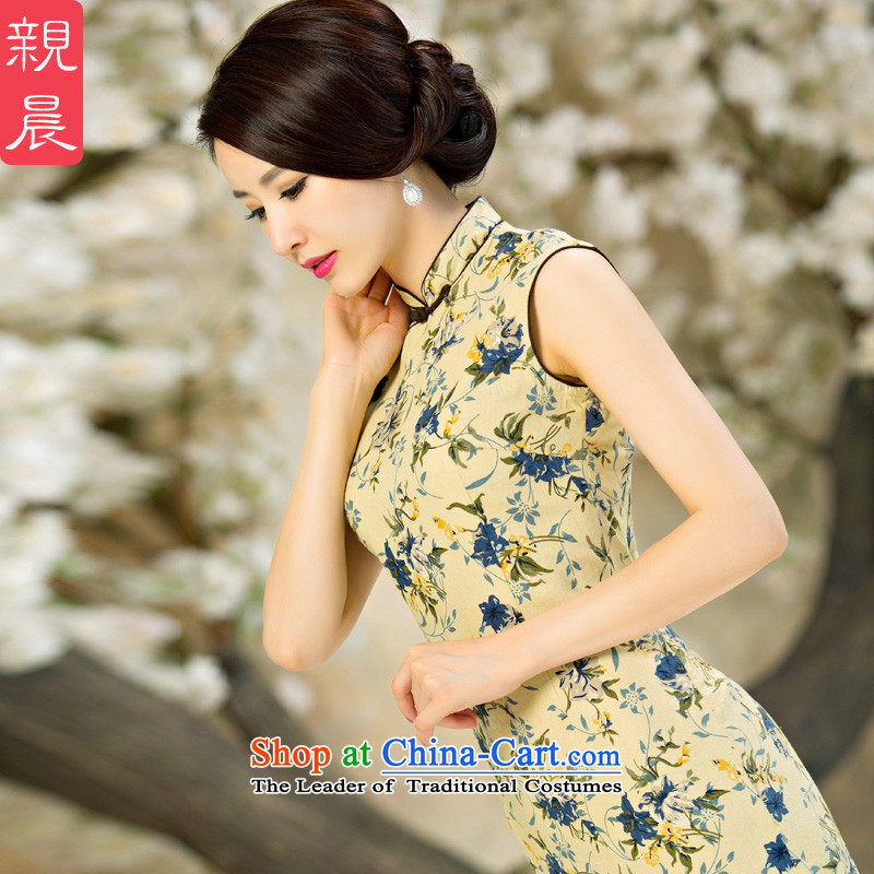 The new 2015 pro-morning improved stylish qipao skirt retro summer daily short of Ms. cotton linen cheongsam dress short, 2XL