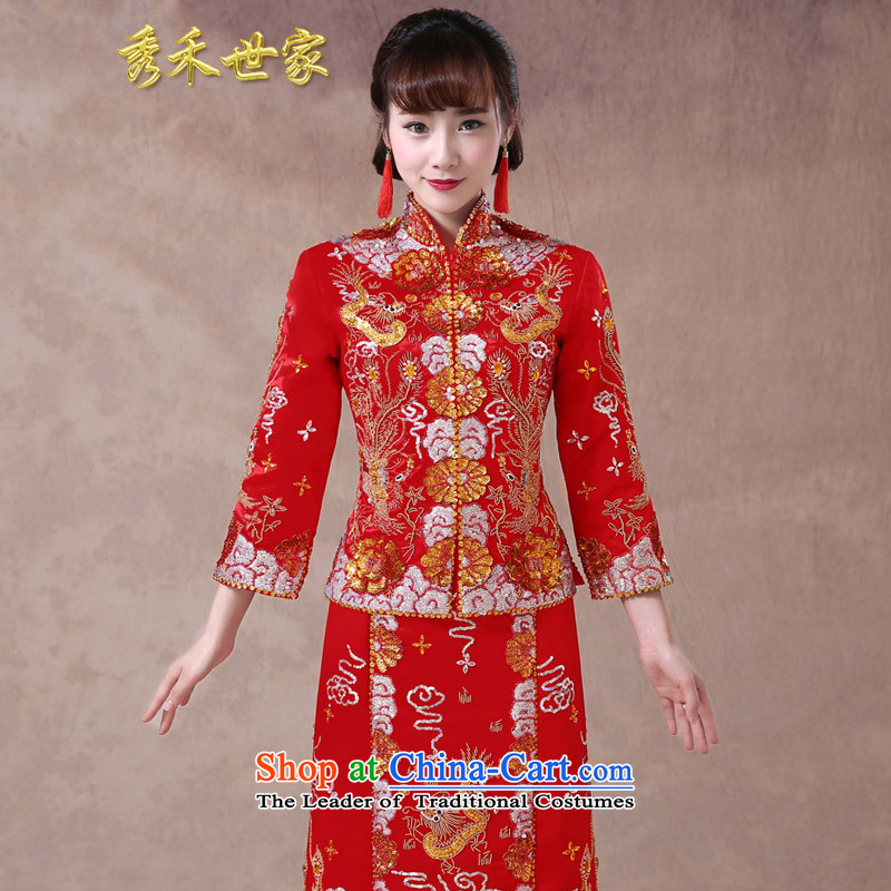 Sau Wo Saga Soo-wo service use skirt bride toasting champagne dragon serving wedding dress red Chinese wedding retro wedding dress 2015 new cheongsam summer large red聽M