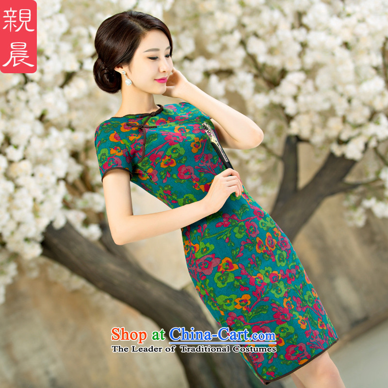 The pro-am daily new improvements by 2015 cheongsam dress Ms. Stylish retro summer short, short-sleeved cheongsam dress short聽M