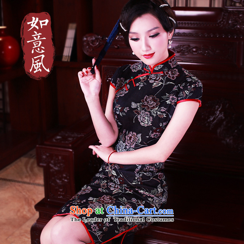 After a new wind 2015 Summer qipao skirt Fashion cowboy daily retro cheongsam dress 2100 New?2100 suit?S