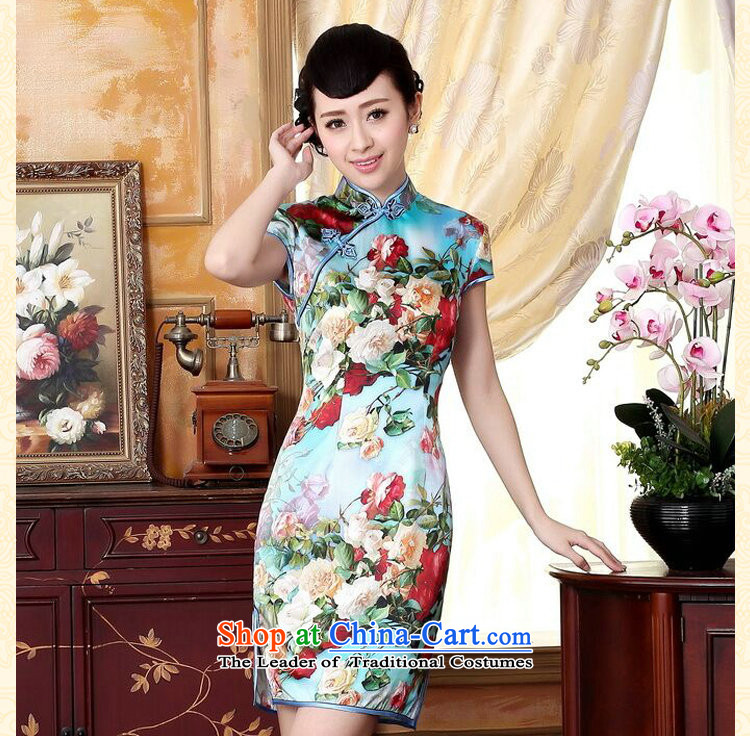 Dan smoke heavyweight Ms. Silk Cheongsam retro improved Mock-neck herbs extract poster stretch of Sau San double short cheongsam floral聽L picture, prices, brand platters! The elections are supplied in the national character of distribution, so action, buy now enjoy more preferential! As soon as possible.