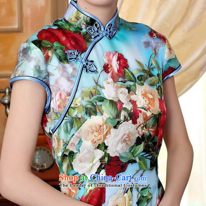 Dan smoke heavyweight Ms. Silk Cheongsam retro improved Mock-neck herbs extract poster stretch of Sau San double short qipao flowers聽, L, Dan Smoke , , , shopping on the Internet